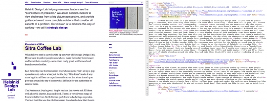 Left: our website. Right: a portion of the code you will see if you view source. I've highlighted a bit of text in both so you can see how one connects to the other.