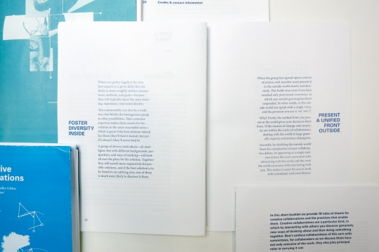 For a brief phase the booklet featured narrative typography, which worked OK on a spread like this, but was difficult to resolve on pages with content that did not lend itself directly to typographic representations.