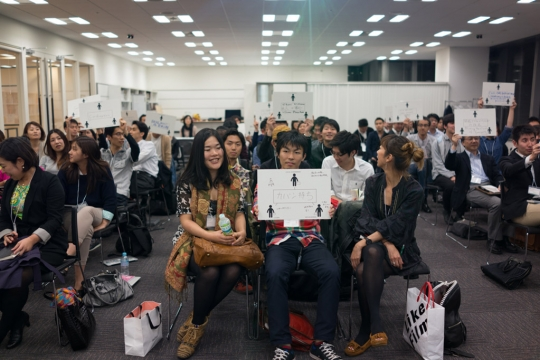 Groups sharing their ideas about strategic design after our talk. Photo: Hiroshi Tamura