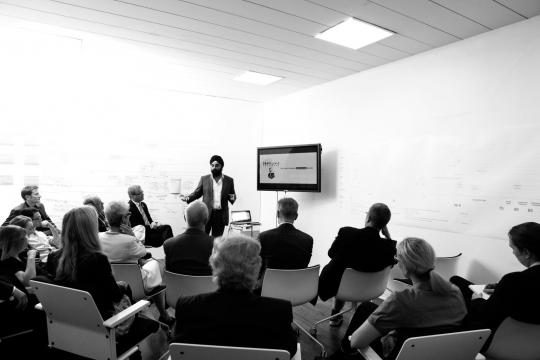 Indy Johar presents the HDL Studio on Ageing's findings. Photo: Ivo Corda