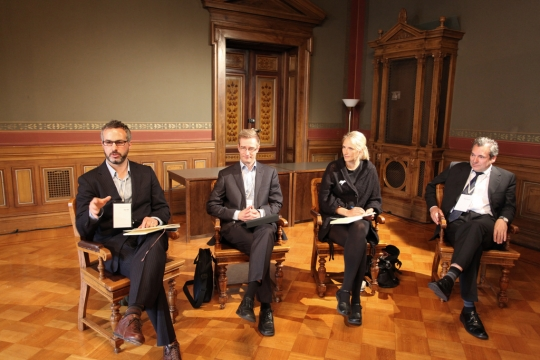 "Dan Hill moderates the Sustainability panel discussion with <a href=""http://www.orastynkkynen.fi/"">Oras Tynkkynen</a>, an MP in Finland; <a href=""http://www.demos.fi/demos/node/23"">Tuuli Kaskinen</a> of Demos Helsinki; and <a href=""http://www.wspenvironmental.com/learnaboutus/viewprofile/peter-sharratt-director-of-sustainability-climate-change-45"">Peter Sharratt</a> of WSP."