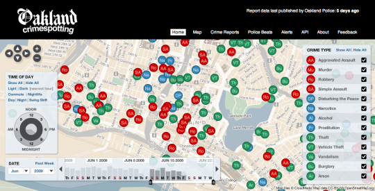 Stamen's Crimespotting: an interactive map of crimes in Oakland, California