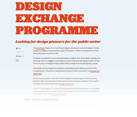 "The <a href=""http://insidejob.fi"">Design Exchange Programme</a> was announced in December and is now off to a promising start"