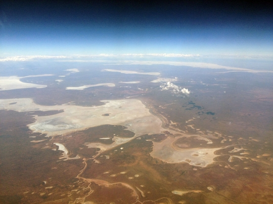 Flying over Lake Eyre, northerly out of Adelaide.